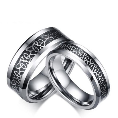 Titanium Steel Silver Black Promise Rings for Couples