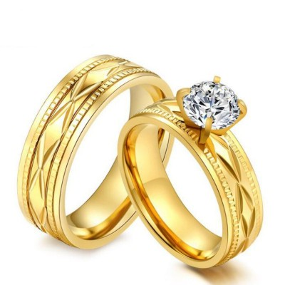 Round Cut White Sapphire Titanium Steel Gold Promise Rings for Couples