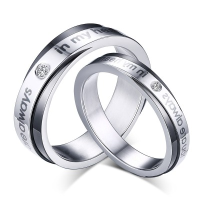 Black & Silver Titanium Steel Promise Rings for Couples