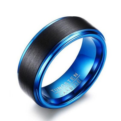 Tungsten Black & Blue Men's Ring