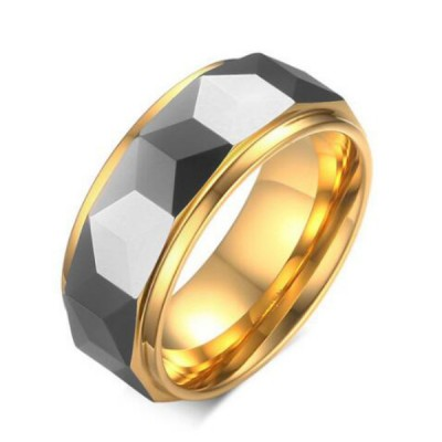 Tungsten Gold & Grey Men's Ring