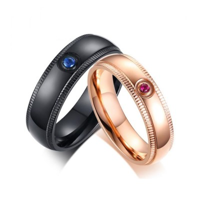 Black & Rose Gold Titanium Couple Rings