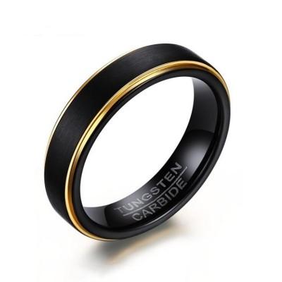 Black & Gold Tungsten Men's Band