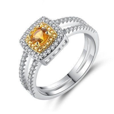 Cushion Cut Topaz 925 Sterling Silver Promise Ring