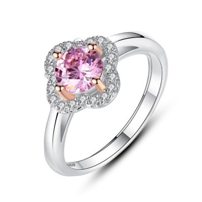 Round Cut Pink Sapphire 925 Sterling Silver Promise Ring