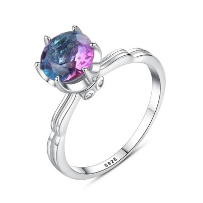 Round Cut Rainbow Stone 925 Sterling Silver Promise Ring