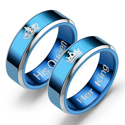 Her King His Queen Blue Titanium Couple Rings
