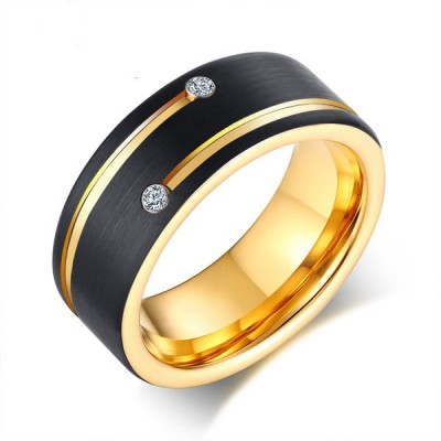 Fashion Round Cut Black & Gold Tungsten Men's Band