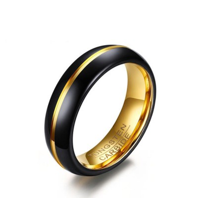 Black & Gold Tungsten Men's Band
