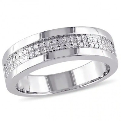 Round Cut White Sapphire 925 Sterling Silver Men's Wedding Band