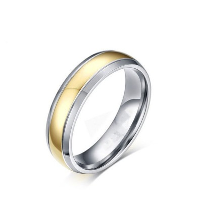 Silver and Gold Comfort Fit Titanium Men's Ring