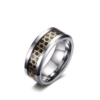Fashion Silver and Black Hexagram Titanium Men's Ring