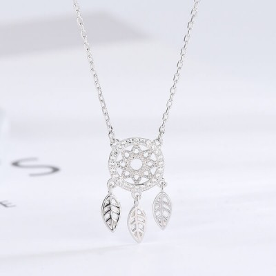 Fashion Leaf and Star Design S925 Sterling Silver Necklace