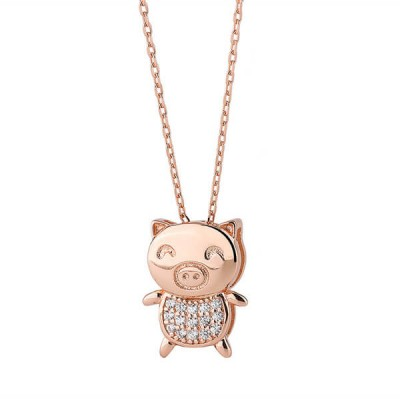Rose Gold Cute Piggy 925 Sterling Silver Necklace