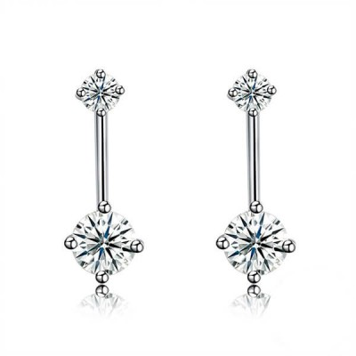 Round Cut White Sapphire Sterling Silver Drop Earrings