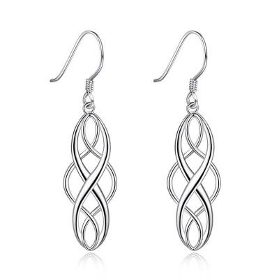 Simple Twisted Vintage 925 Sterling Silver Earrings
