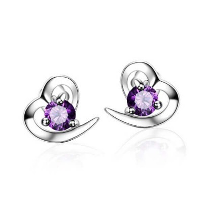 Elegant Heart Shape Purple Crystal Sterling Silver Earrings