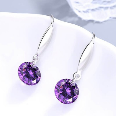 Simple Round Purple Crystal Sterling Silver Drop Earrings