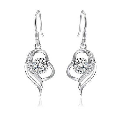 Fashion Hollow Heart Sterling Silver Drop Earrings