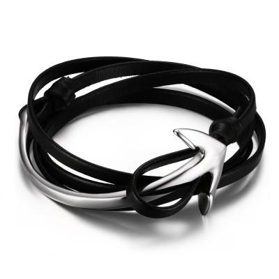 Black Leather Silver Anchor 925 Sterling Silver Bracelet