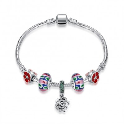 Red Accessories Flower Pendant S925 Silver Bracelets