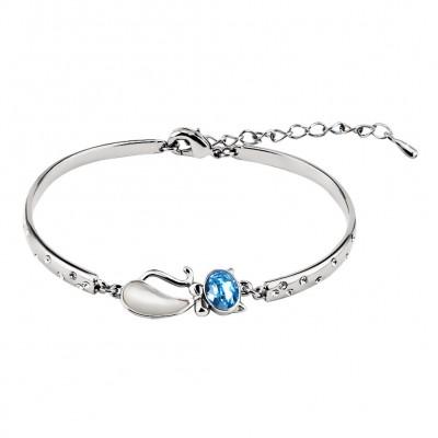 Oval Cut Aquamarine Silver Titanium Bangles