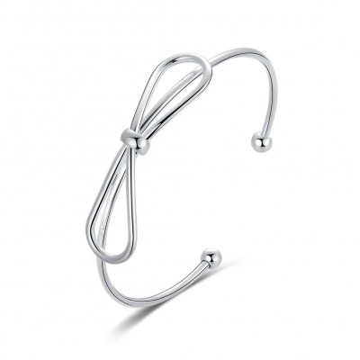 Bowknot Lovely Silver Titanium Bangles