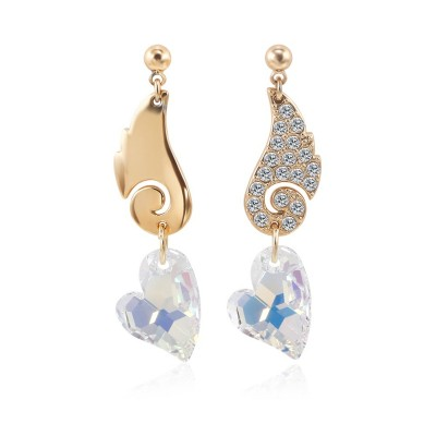 Heart Cut White Sapphire Gold S925 Silver Earrings