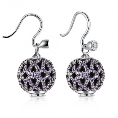Round Cut Amethyst S925 Silver Earrings
