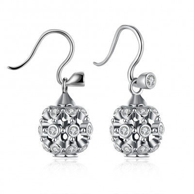 Round Cut White Sapphire Cute S925 Silver Earrings