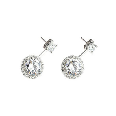 Halo White Sapphire Sterling Silver Stud Earrings
