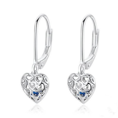 Blue Sapphire Heart Hollow Out Sterling Silver Drop Earrings