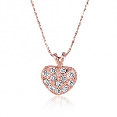 Heart Round Cut White Sapphire Gold/Rose Gold Titanium Necklaces