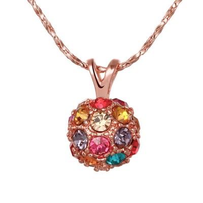 Round Cut Aquamarine Topaz Pink Sapphire Rose Gold Titanium Necklaces