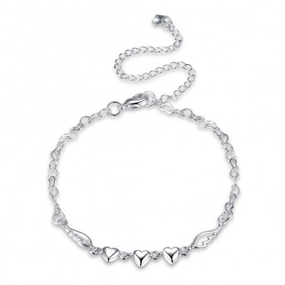 Three Hearts Silver Titanium Anklets