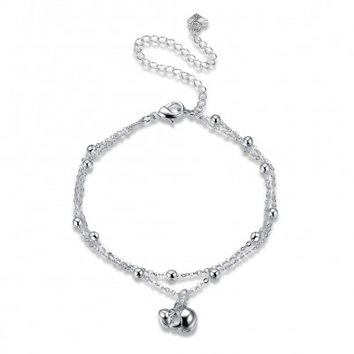 Cool Skull Pendant Silver Titanium Anklets