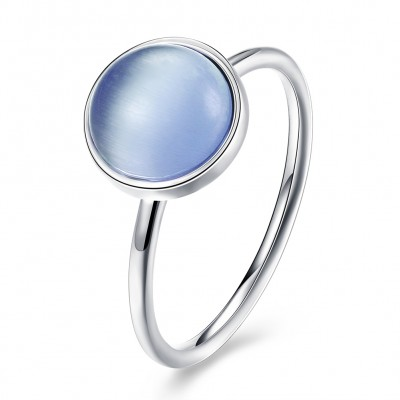 Round Cut Light Blue Stone S925 Silver Promise Rings