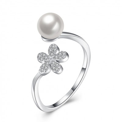 Pearl Round Cut White Sapphire S925 Silver Promise Rings