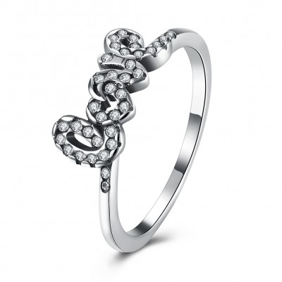 Love Round Cut White Sapphire S925 Silver Promise Rings