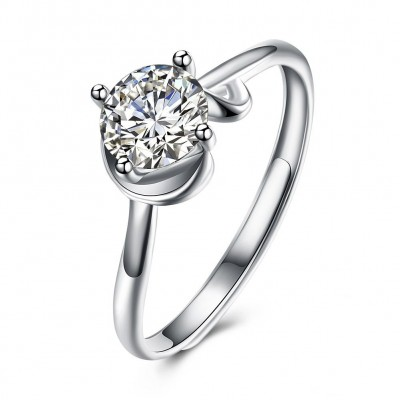 Elegant Round Cut White Sapphire S925 Silver Engagement Rings