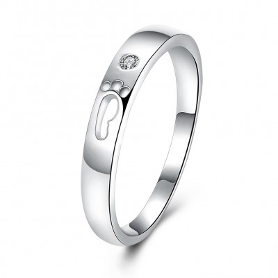 Cute Round Cut White Sapphire S925 Silver Wedding Bands