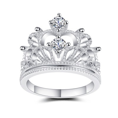 Crown Design White Sapphire Sterling Silver Women's Engagement Ring
