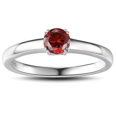 Ruby Round Cut Sterling Silver Women's Ring