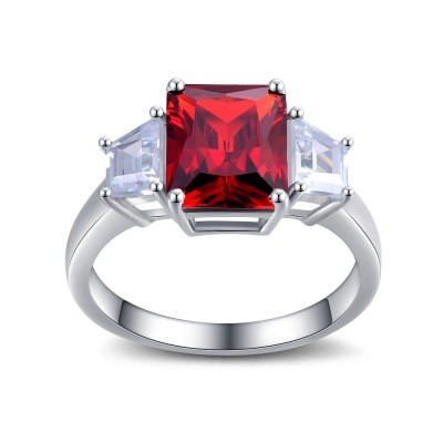 Cushion Cut Garnet 925 Sterling Silver Women's Ring