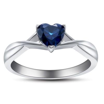 Sweet Heart Cut Sapphire 925 Sterling Silver Women's Engagement Ring