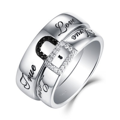 """Ture Love"" Lock White and Black Sapphire s925 Silver Couple Rings"