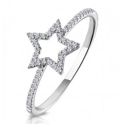 Round Cut White Sapphire Star Hollow Sterling Silver Ring