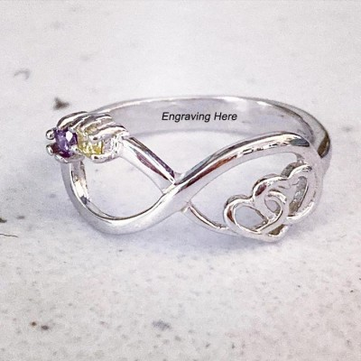Infinity Birthstone Sterling Silver Double Heart Ring