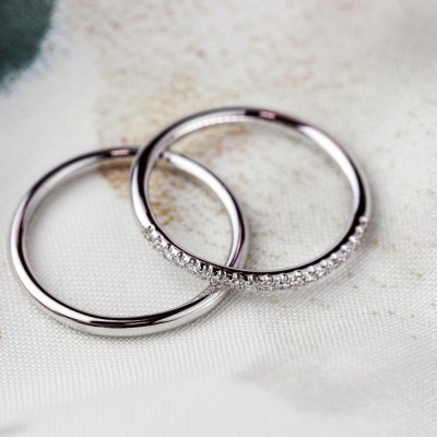 Classic Round Eternity Band 925 Sterling Silver Couple Rings