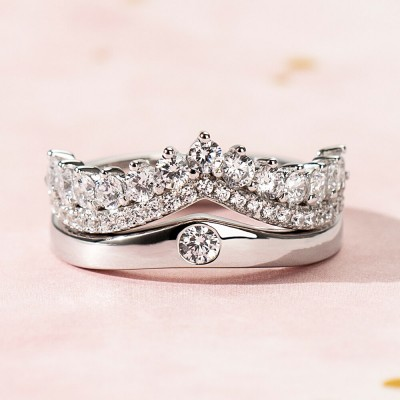 Princess Crown White Sapphire 925 Sterling Silver Promise Ring for Couples
